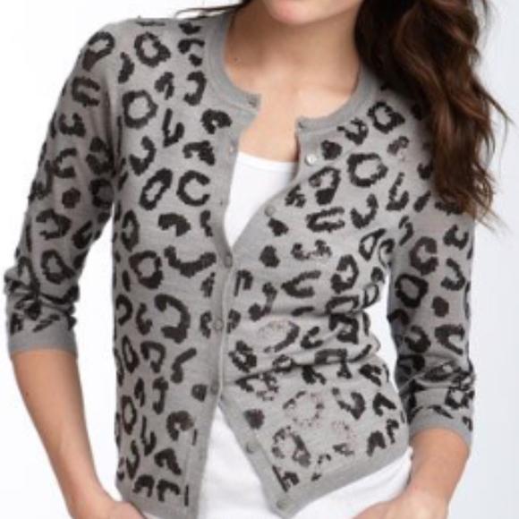 babd84edab90 Halogen Sweaters | Sequin Leopard Print Cardigan Grey 3x | Poshmark